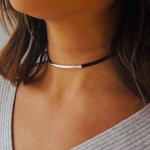 Jewelry - Black Leather Choker Silver Band